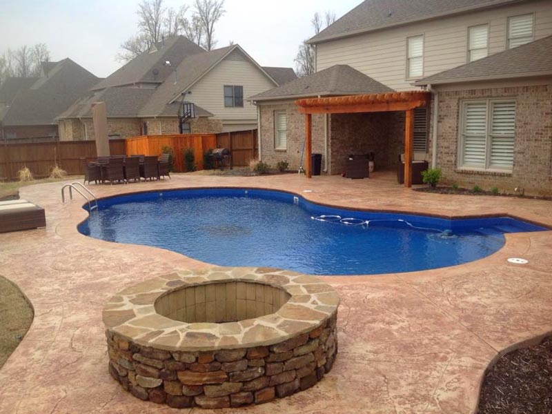 new pool with fire pit