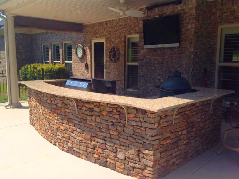 natural stone outdoor kitchen