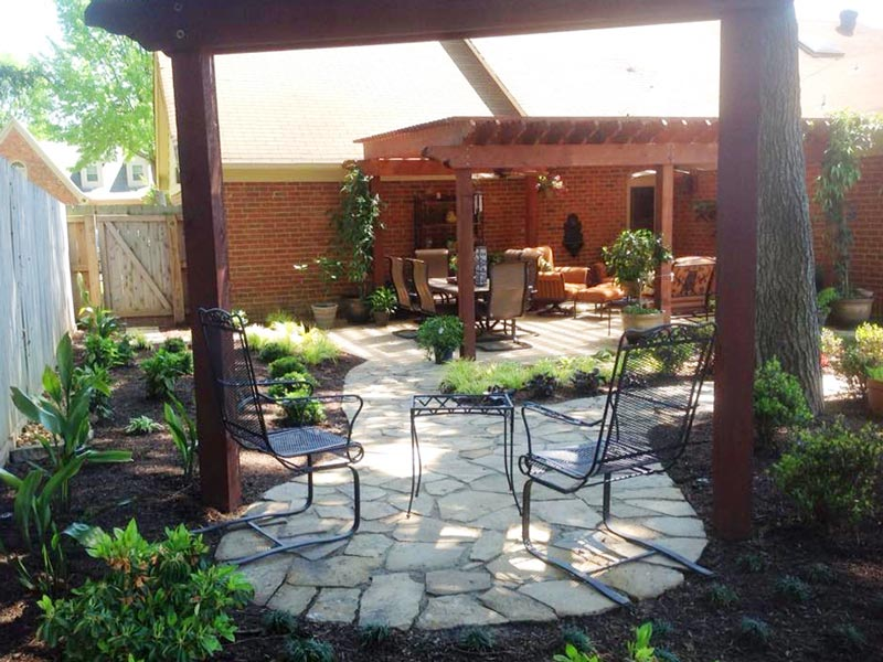 landscaped shaded relaxing area